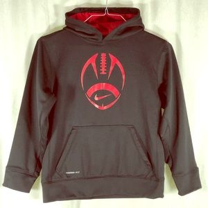 NIKE Youth Sweater with Hoodie Blk/red football L